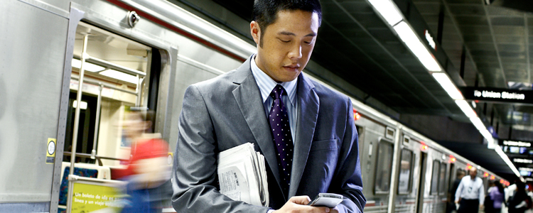 Picture of Asian Man at Train Station